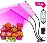 Cycle Timing High Brightness 36W Light Effect,Three Tube Plant Grow Light, 360 Degree Flexible, Auto ON & Off Every Day,4H/8H/12H Cycle Timer Switch for Indoor Plants Greenhouse Office,LED Plant Light