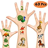 Temporary Tattoos for Kids, Non-Toxic FDA Approved Cartoon Theme Fake Tattoos Stickers for Children Boys Girls Halloween Birthday Party Favors Supplies (Animal Tattoos)