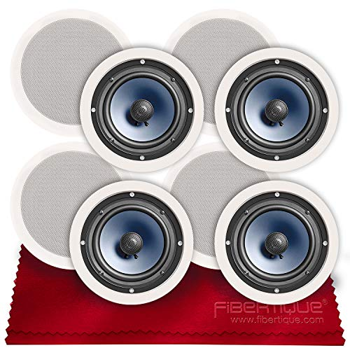 Polk Audio RC80i 2-Way Premium in-Ceiling 8' Round Speakers (x4 Sets = 8 Speakers) (White, Paintable Grille) + Fibertique Cloth (Perfect for Damp & Humid Placement - Bath, Kitchen, Indoor Porch)