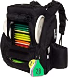 Fusion Pro Disc Golf Backpack w/ Built-In Seat - 25+ Disc Capacity Frisbee Golf Bag by Baglane (Black)