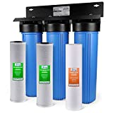 iSpring WGB32B 3-Stage Whole House Water Filtration System w/ 20 x 4.5 Big Blue Fine Sediment and Carbon Block Filters