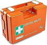 Maletín de primeros auxilios para operaciones con contenido según DIN 13157 en naranja, botiquín relleno y con soporte de pared