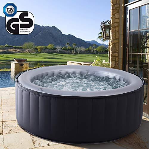 Miweba MSpa aufblasbarer Whirlpool Outdoor - 6 Personen – 132 Düsen - 204 x 70 cm – Tüv GS geprüft - Silver Cloud D-SC06 – 930 Liter