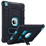 ULAK iPad 5th 6th Generation Case, iPad 9.7 inch Cases,Three Layers Heavy Duty Sturdy Shockproof Protective Stand Case Kickstand Soft Silicone Cover for Kids Apple iPad 9.7 2017/2018, Black/Aqua Blue