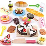 iPlay, iLearn Wooden Dessert Cutting & Baker Food Set, Pretend Birthday Cake Playset, Cookie Ice Cream Donuts Snack Play Food Toys, Party Decoration Gifts for 3 4 5 6 Year Old Girls Toddlers Kids Boys