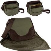 BronzeDog Hunting Bag Leather Nylon Ammo Holder 12 16 Gauge Durable Shotgun Shell Pouch Case