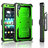 Tekcoo HTC Desire 626 Case, Desire 626S Case, [TShell Series] [Green] Shock Absorbing [Built-in Screen Protector] Holster Locking Belt Clip Defender Heavy Case Cover for HTC Desire 626S/626