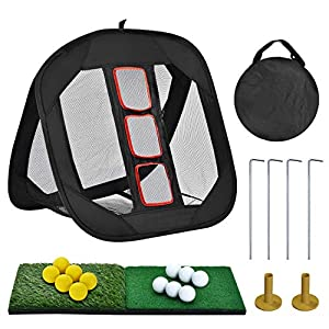 "CHIPPING COMBO- Sunhoo golf chipping net Combo comes with the Lawn Saver Mat, practice Golf Ball and removable Rubber Tee, greatly save your shopping time and shipping cost. COMPACT DESIGN- The golf net measures 12"" by 12"" only when folded, 25"" by 25..."