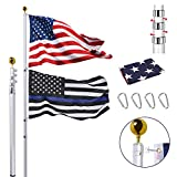 30FT Telescopic Flag Pole Kit, Extra Thick Heavy Duty Aluminum Telescoping Flagpole Fly 2 Flags, Outdoor Inground Large Flag Poles with 3x5 American Flag for Residential, Yard or Commercial, Silver