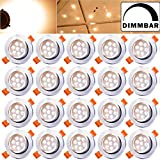 Hengda 20pcs 7W LED Empotrable Downlight regulable blanco cálido Lámparas de cocina para el pasillo Dormitorio Sala de estar con proyector SMD conjunto empotrado punto