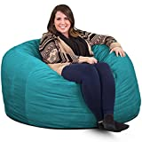 ULTIMATE SACK 4000 Bean Bag Chair: Giant Foam-Filled Furniture - Machine Washable Covers, Double Stitched Seams, Durable Inner Liner, and 100% Virgin Foam. Comfy Bean Bag Chair. (Teal, Suede)