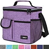 OPUX Lunch Bag Insulated Lunch Box for Women, Girls, Kids | Medium Leakproof Lunch Tote Bag for School, Work | Lunch Cooler with Shoulder Strap, Pocket | Fits 20 Cans (Tall Purple)