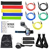 KLEANTOOLZ 19-Piece Resistance Bands Set - Portable Exercise Training Kit - Full Workout Bundle with Loops, Bag, Handles, Armband, Ankle Straps, Door Anchors - Travel, Home Trainer for Seniors, Kids