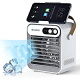SHANDII Portable Air Conditioner, Mini Evaporative Cooler, Personal Table Fan with Cell Phone Stand/Holder, 3 Speeds 2400 mAh Battery, for Room and Office, F80