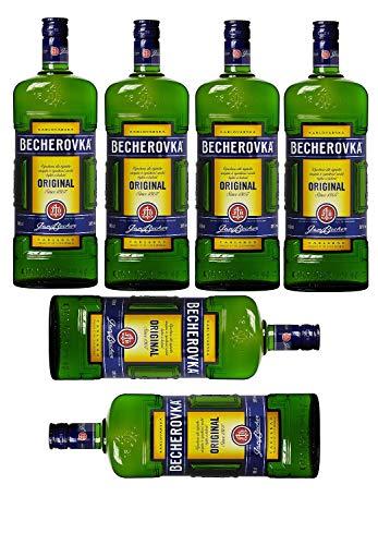 6 Flaschen a 1000ml Becherovka – Tschechischer Kräuterlikör mit 20 unterschiedlichen Kräutern
