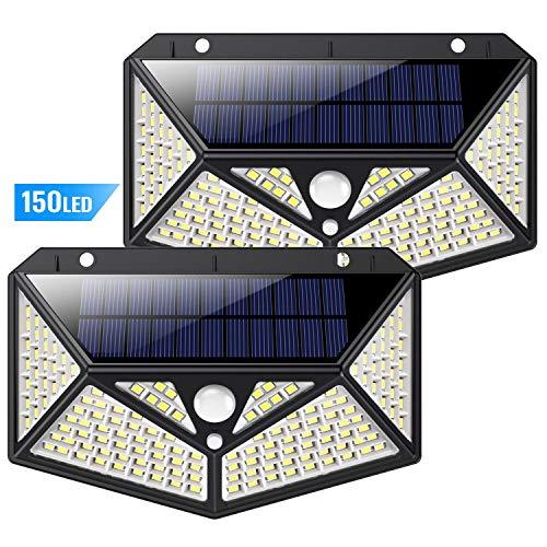 Luce Solare Led Esterno, KilponenIlluminazione a 6 Lati 1500LMLampada Solare Esterno con Sensore di...
