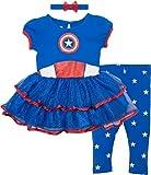 Marvel Captain America Toddler Girls' Costume Dress, Leggings and Headband Set (3T)