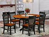 7Pc Oval 42/60' Family Table With 18 In Leaf And 6 Wood Seat Dining Chairs