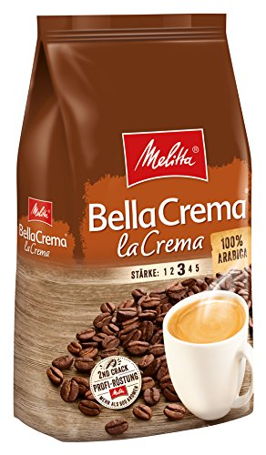 Melitta Ganze Kaffeebohnen, 100{3e7311137ea1285da30efb7ec5d8446e10f3c079792b4fe10c0b05ea7e91ae8d} Arabica, vollmundig und ausgewogen, Stärke 3, BellaCrema LaCrema, 1kg