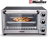 Toaster Oven 4 Slice, Multi-function Stainless Steel with Timer - Toast - Bake - Broil Settings, Natural Convection - 1100 Watts of Power, Includes Baking Pan and Rack by Mueller Austria
