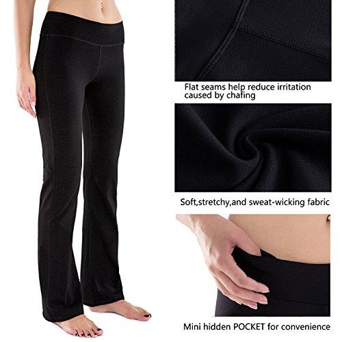 Houmous S-XXL Petite/Regular/Tall Length, Women's Yoga Bootleg Pants Inner Hidden Pocket Workout Pants(Petite-29 Inseam-Black, X-Large) 9