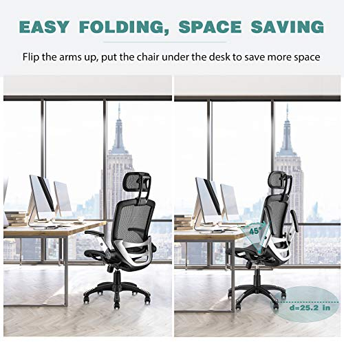 Product Image 3: Gabrylly Ergonomic Mesh Office Chair, High Back Desk Chair - Adjustable Headrest with Flip-Up Arms, Tilt Function, Lumbar Support and PU Wheels, Swivel Computer Task Chair