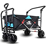 TMZ All Terrain Utility Folding Wagon, Collapsible Garden Cart, Heavy Duty Beach Wagon, for Shopping, Camping, and Outdoor Activities with Push Handle and Brakes (Black/Blue)