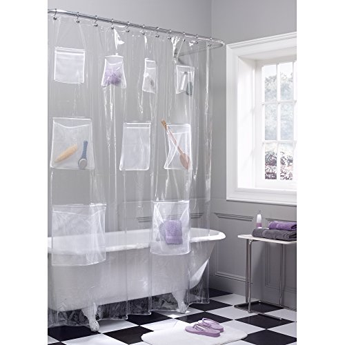 Maytex Quick Dry Mesh Pockets Waterproof PEVA Shower Curtain or Liner,...
