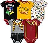 Warner Bros. Harry Potter Baby Boys' 5-Pack Bodysuits Hogwarts Gryffindor (0-3 Months)