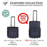 """Travelers Club Top Expandable +50% Capacity Luggage with USB Port, Navy Blue, 16"""" Underseat Carry-On"""