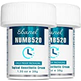 Ebanel 5% Lidocaine Topical Numbing Cream Maximum Strength, 2-Pack of 1.35 Oz, N520 Pain Relief Cream Anesthetic Cream Infused with Aloe Vera, Vitamin E, Lecithin, Allantoin, with Child Resistant Cap