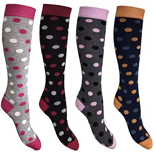 CriCri Socks Set 4 Paia Calze Calzini Lunghi Donna in Caldo Cotone Alta Qualit Made in Italy - Taglia Unica (Combinazione 1)