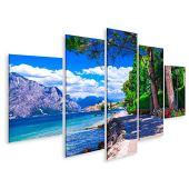islandburner, Quadro Moderno Paesaggio panoramico del Lago di Garda, Malcesine. Itlay x Salotto Cucina Ufficio Casa Stampe su Tela Prm-MFP-DE2