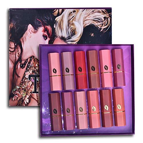 Set de lápiz labial mate Fashion de 12 colores, bálsamo la