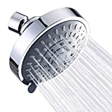 Shower Head High Pressure Rain Fixed Showerhead 5-Setting with Adjustable Metal Swivel Ball Joint - Relaxed Shower Experience Even at Low Water Flow & Pressure Aisoso