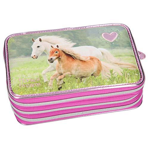 Depesche 10532 Horses Dreams - Astuccio a 3 Scomparti, Colore: Rosa