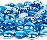 Future Way 15LB Fire Glass for Fire Pit, 1/2 inch Caribbean Blue Fire Glass Beads for Firepit, Indoor and Outdoor Fireplace, Fire Table, Gas Log Sets and Landscaping