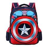 Towel Rings Marvel Captain America Backpack Mochila Escolar con Escudo del Capitán América, Mochila Escolar para Niños De Dibujos Animados De Escuela Primaria,Mochila para Niños 3 A 6 Grados