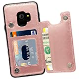 MMHUO Galaxy S9 Wallet Case, Premium PU Leather Galaxy S9 Case with Credit Card Holder Double Magnetic Buttons Flip Shockproof Protective Cover Samsung Galaxy S9 5.8 Inch (2018) -Rose Gold