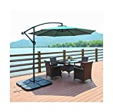 Garden Parasol 3m Large Banana Parasol Hanging Cantilever Umbrella with Crank Handle 40+ UV Protection Patio Umbrellas Cantilever Garden Outdoor Patio Sun Shade (Color : Green)