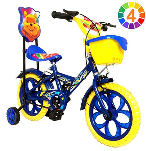Loop Bikes Unisex Cycles Blue Yellow Master Blaster Y Frame 14 Inches Bicycle For Kids 3 To 5 Years With Side Wheels & Basket