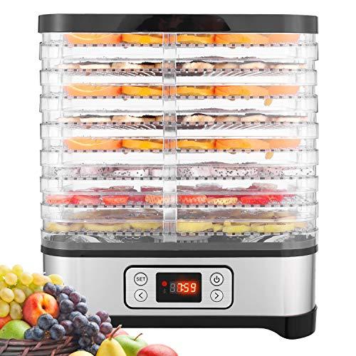 Hopekings Essiccatore frutta e verdura,Display LCD,Timer di 72 ore,8 pallet,Disidratatore per...
