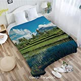 AngelDOU Portable Car Air Conditioner Blanket W55 xL72 Idyllic View of Mayon Volcano Mountain in Philippines Tropical Landscape Decorative for Home Couch Outdoor Travel.