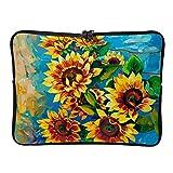 Sun Flower Laptop Case Bag Slim Big Capacidad Cremallera Multicolor 10-17 Pulgadas Diseño para Viajes Profesionales de Negocios, blanco (Blanco) - Xuanwuyi45103