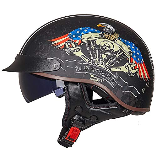 Motorcycle Open Face Helmet - Open Face Moped Helmet Retro Style for Motorcycle Scooter Harley with Sun Visor - Helmet DOT Certified USA Street Legal