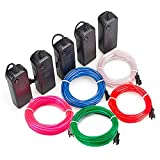 TGHCP-5 Pack 9FT Neon Light EL Wire with Battery Pack (White,Blue,Green,Pink,Red)