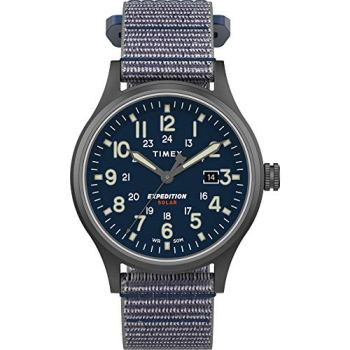 Timex Men's TW4B18700 Expedition Scout Solar 40mm Blue/Gunmetal Fabric Fast Wrap Strap Watch