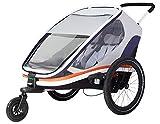 Hamax Outback Multi-Sport Child Bike Trailer + Stroller (Jogger Wheel Sold Separately) (Two Seats, White/Orange)