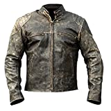 Men's Antique Vintage Distressed Retro Motorcycle Real Leather Biker Jacket (XL) Black