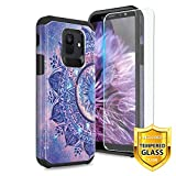TJS Phone Case for Samsung Galaxy J2 Core/J2 2019/J2 Pure/J2 Dash/J2 Shine, with [Tempered Glass Screen Protector] Dual Layer Hybrid Shockproof Drop Protection Impact Rugged Armor Cover (Mandala)